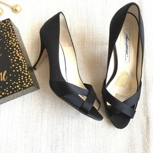 Brian Atwood shoes black satin pumps heels